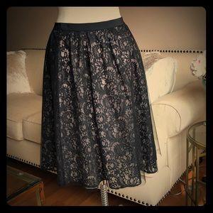 Black lack tulle skirt (baby pink underlay)